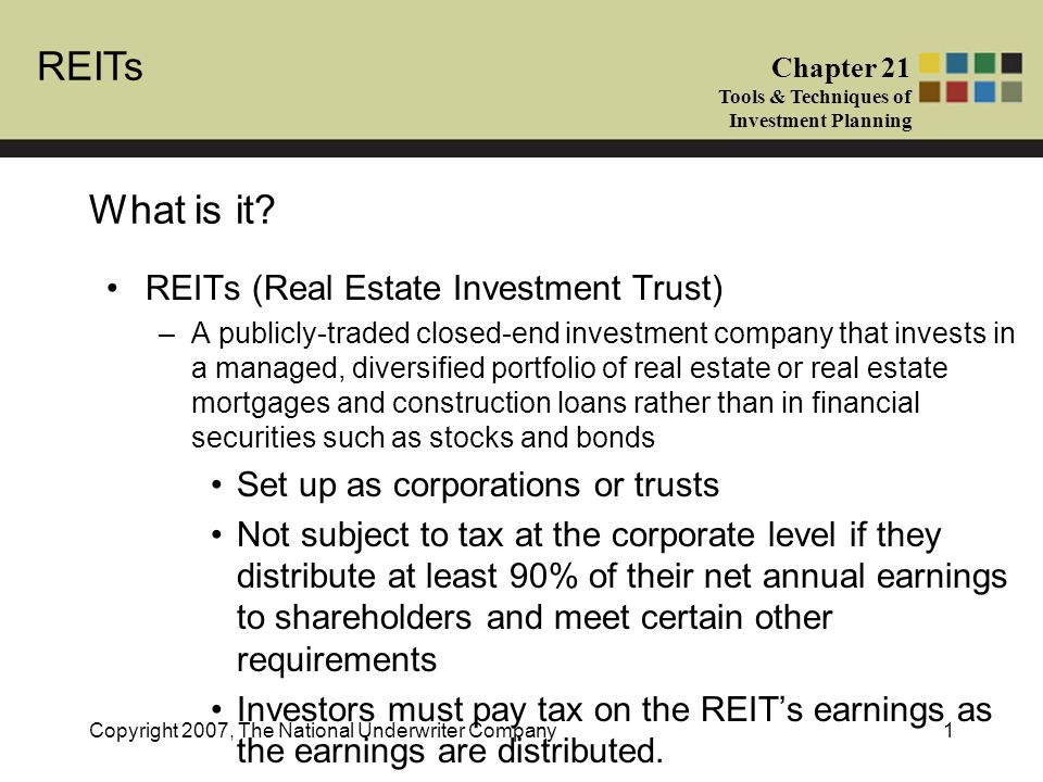 REITs Chapter 21 Tools & Techniques of Investment Planning Copyright 2007, The National Underwriter Company1 What is it.