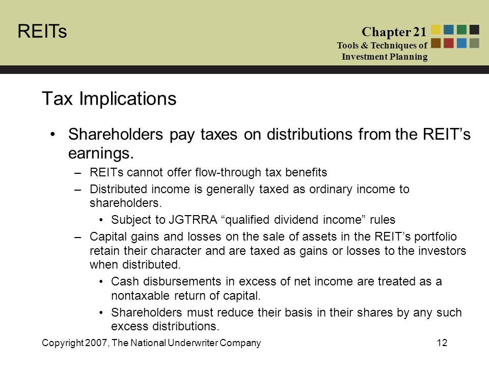 REITs Chapter 21 Tools & Techniques of Investment Planning Copyright 2007, The National Underwriter Company12 Tax Implications Shareholders pay taxes on distributions from the REIT's earnings.