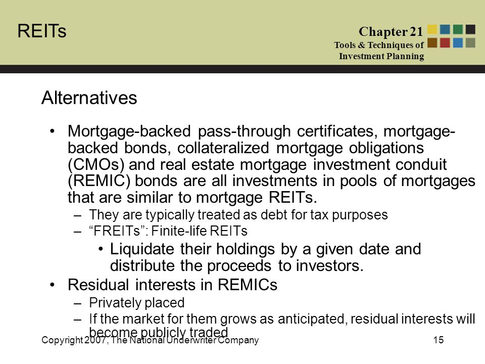 REITs Chapter 21 Tools & Techniques of Investment Planning Copyright 2007, The National Underwriter Company15 Alternatives Mortgage-backed pass-through certificates, mortgage- backed bonds, collateralized mortgage obligations (CMOs) and real estate mortgage investment conduit (REMIC) bonds are all investments in pools of mortgages that are similar to mortgage REITs.