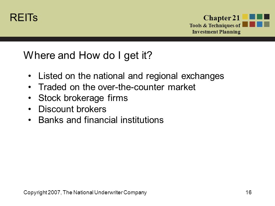 REITs Chapter 21 Tools & Techniques of Investment Planning Copyright 2007, The National Underwriter Company16 Where and How do I get it.