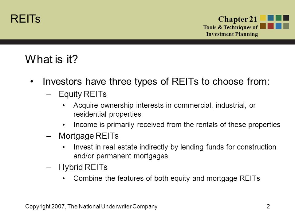 REITs Chapter 21 Tools & Techniques of Investment Planning Copyright 2007, The National Underwriter Company2 What is it.