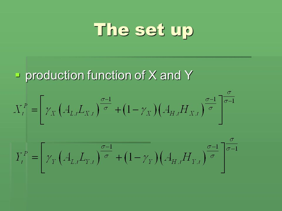 The set up  production function of X and Y