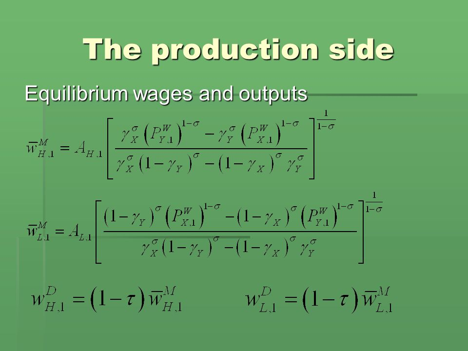The production side Equilibrium wages and outputs