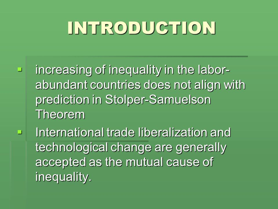 A change in the labor proportion and dynamic inequality  For the second period, the derivative of the relative wage with respective the labor proportion in the second period is  And,