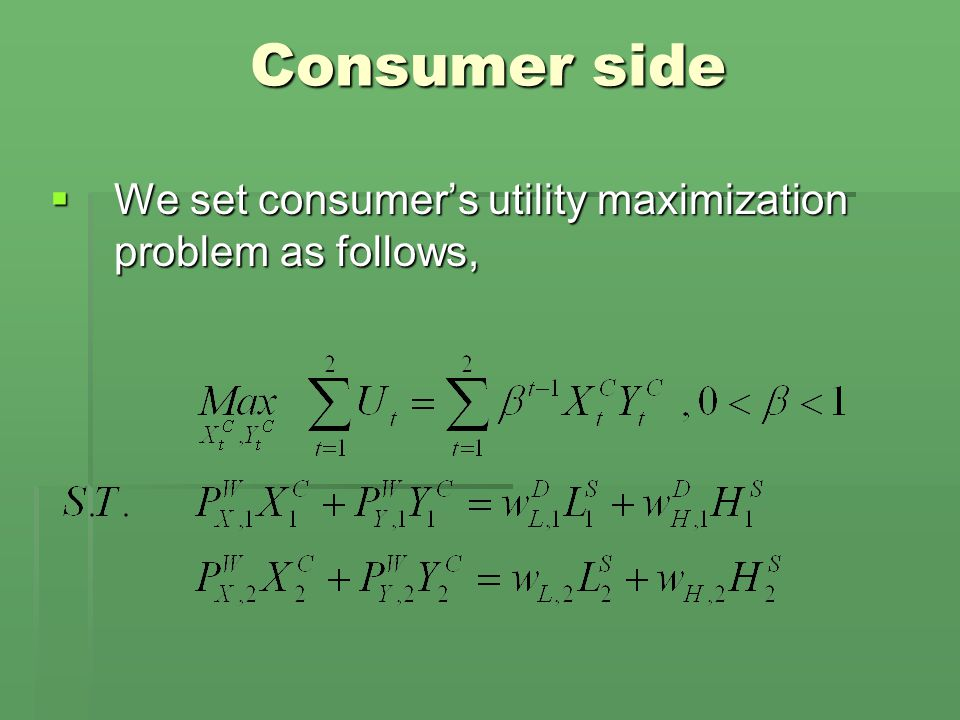 Consumer side  We set consumer's utility maximization problem as follows,