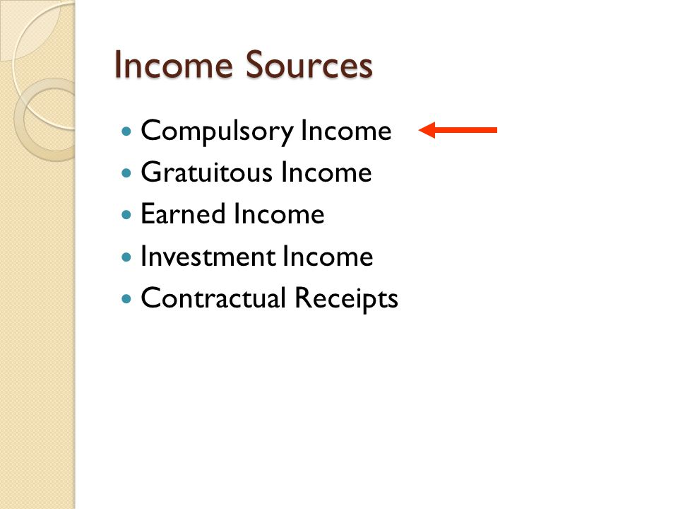 Compulsory Income Real property taxes ◦ Tax rates formula Required taxes/net assessed valuation=tax rate $5,000,000 / $400,000,000 = 0.0125 (1.25%) Also read as $1.25 per $100 assessed value