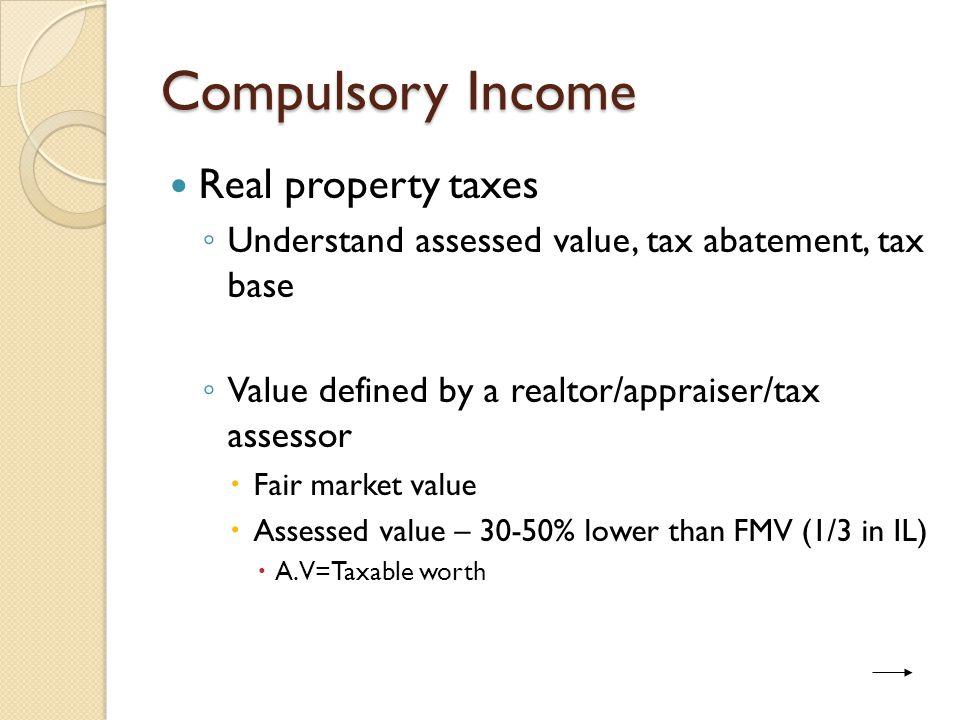 Fair market value = $180,000 listing Assessed Value = $60,000 ($180,000 / 3)