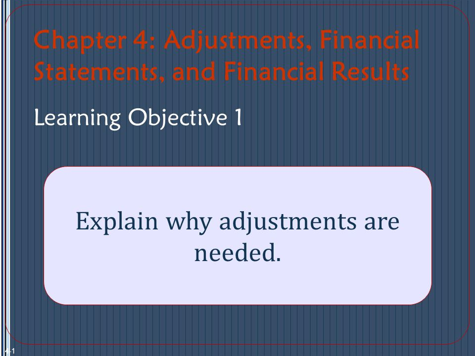 Solution: Adjustments are made to the accounting records at the end of the period to state assets, liabilities, revenues, and expenses at appropriate amounts.