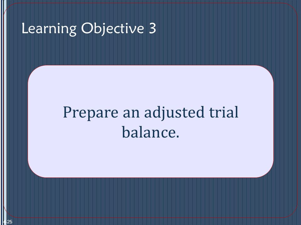 Learning Objective 3 Prepare an adjusted trial balance. 4-25