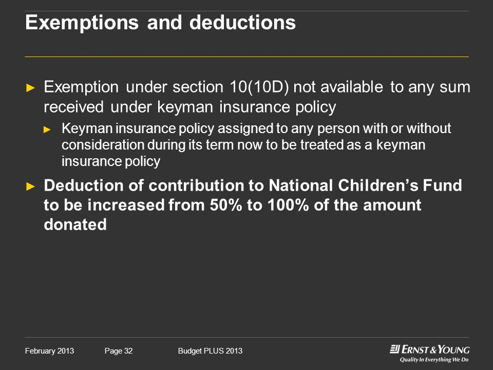 February 2013Budget PLUS 2013Page 32 Exemptions and deductions ► Exemption under section 10(10D) not available to any sum received under keyman insura