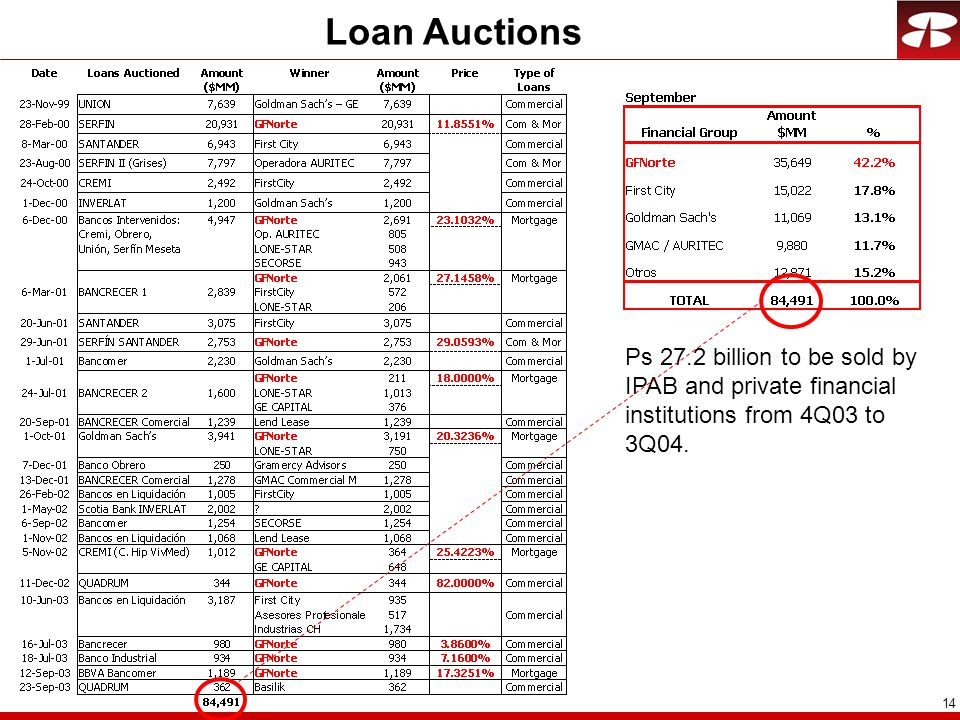 14 Loan Auctions Ps 27.2 billion to be sold by IPAB and private financial institutions from 4Q03 to 3Q04.
