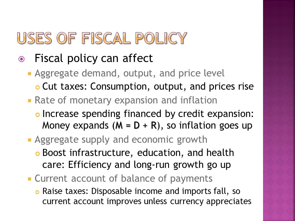  Fiscal policy can affect  Aggregate demand, output, and price level Cut taxes: Consumption, output, and prices rise  Rate of monetary expansion and inflation M = D + R Increase spending financed by credit expansion: Money expands (M = D + R), so inflation goes up  Aggregate supply and economic growth Boost infrastructure, education, and health care: Efficiency and long-run growth go up  Current account of balance of payments Raise taxes: Disposable income and imports fall, so current account improves unless currency appreciates