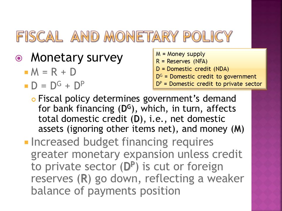  Monetary survey  M = R + D  D = D G + D P D G D M Fiscal policy determines government's demand for bank financing (D G ), which, in turn, affects total domestic credit (D), i.e., net domestic assets (ignoring other items net), and money (M) D P R  Increased budget financing requires greater monetary expansion unless credit to private sector (D P ) is cut or foreign reserves (R) go down, reflecting a weaker balance of payments position M = Money supply R = Reserves (NFA) D = Domestic credit (NDA) D G = Domestic credit to government D P = Domestic credit to private sector M = Money supply R = Reserves (NFA) D = Domestic credit (NDA) D G = Domestic credit to government D P = Domestic credit to private sector