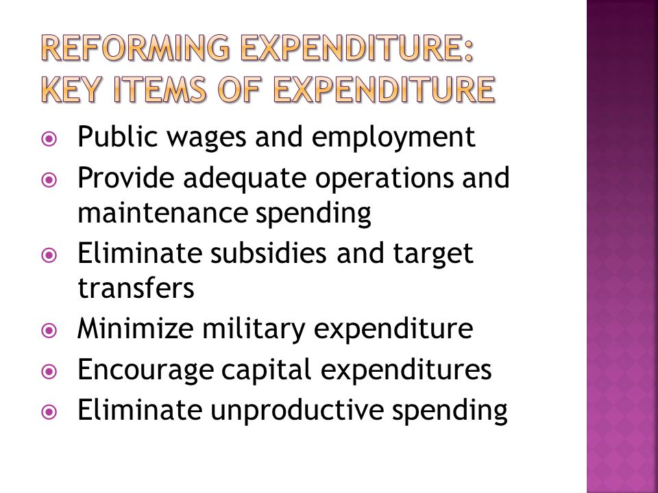  Public wages and employment  Provide adequate operations and maintenance spending  Eliminate subsidies and target transfers  Minimize military expenditure  Encourage capital expenditures  Eliminate unproductive spending