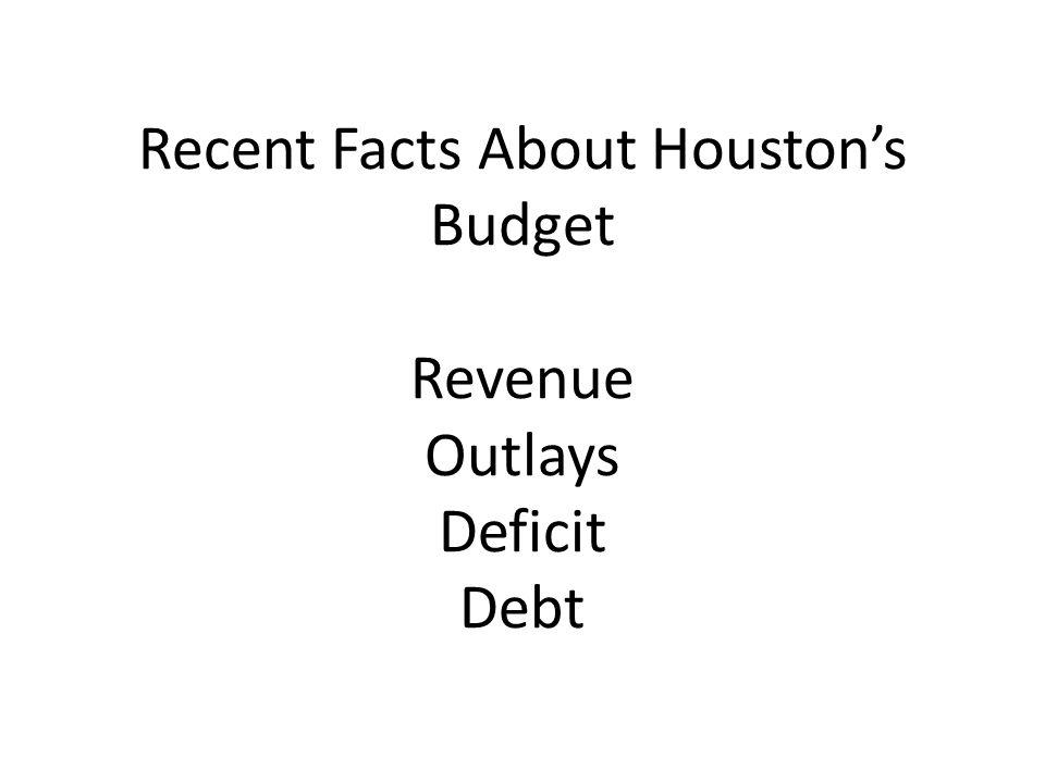Recent Facts About Houston's Budget Revenue Outlays Deficit Debt
