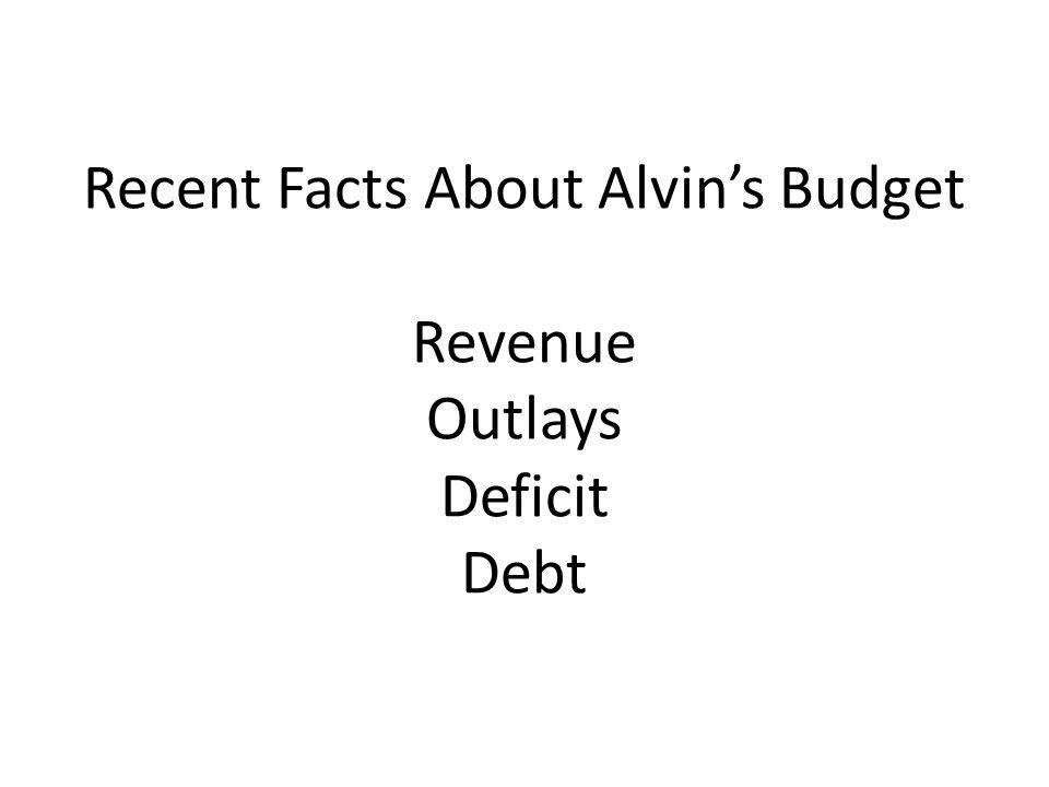 Recent Facts About Alvin's Budget Revenue Outlays Deficit Debt