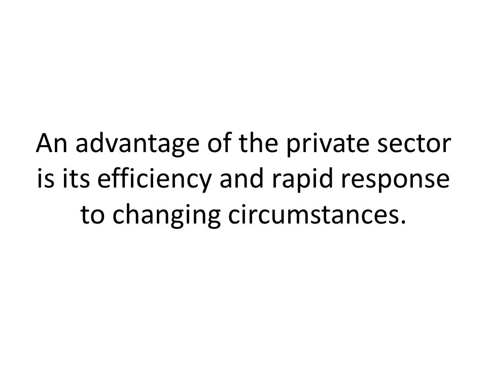 An advantage of the private sector is its efficiency and rapid response to changing circumstances.