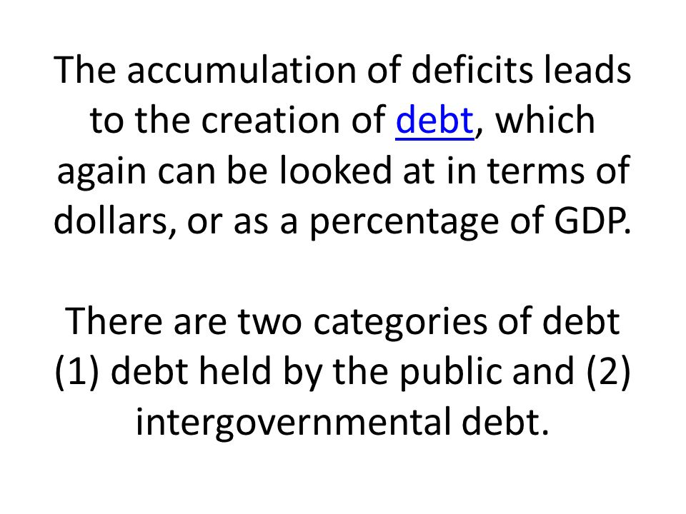 The accumulation of deficits leads to the creation of debt, which again can be looked at in terms of dollars, or as a percentage of GDP.
