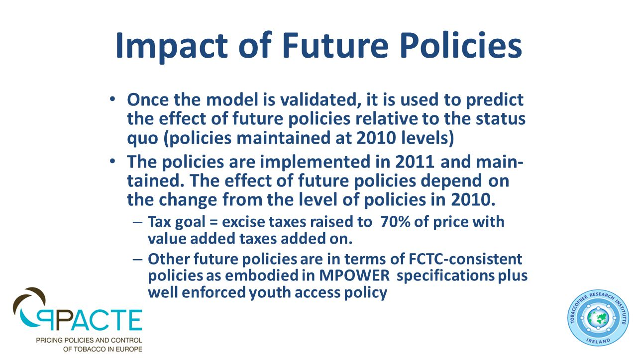 Impact of Future Policies Once the model is validated, it is used to predict the effect of future policies relative to the status quo (policies maintained at 2010 levels) The policies are implemented in 2011 and main- tained.