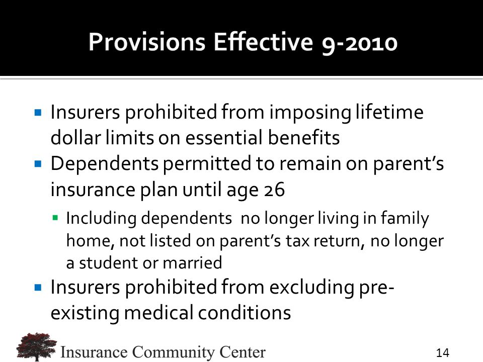  Insurers prohibited from imposing lifetime dollar limits on essential benefits  Dependents permitted to remain on parent's insurance plan until age 26  Including dependents no longer living in family home, not listed on parent's tax return, no longer a student or married  Insurers prohibited from excluding pre- existing medical conditions 14