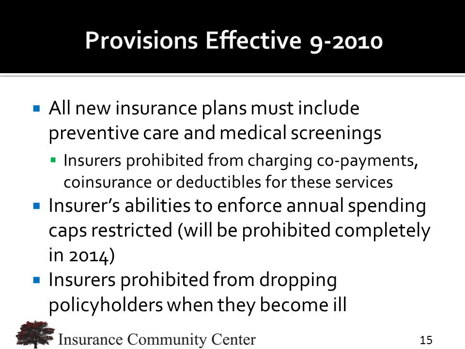  All new insurance plans must include preventive care and medical screenings  Insurers prohibited from charging co-payments, coinsurance or deductib