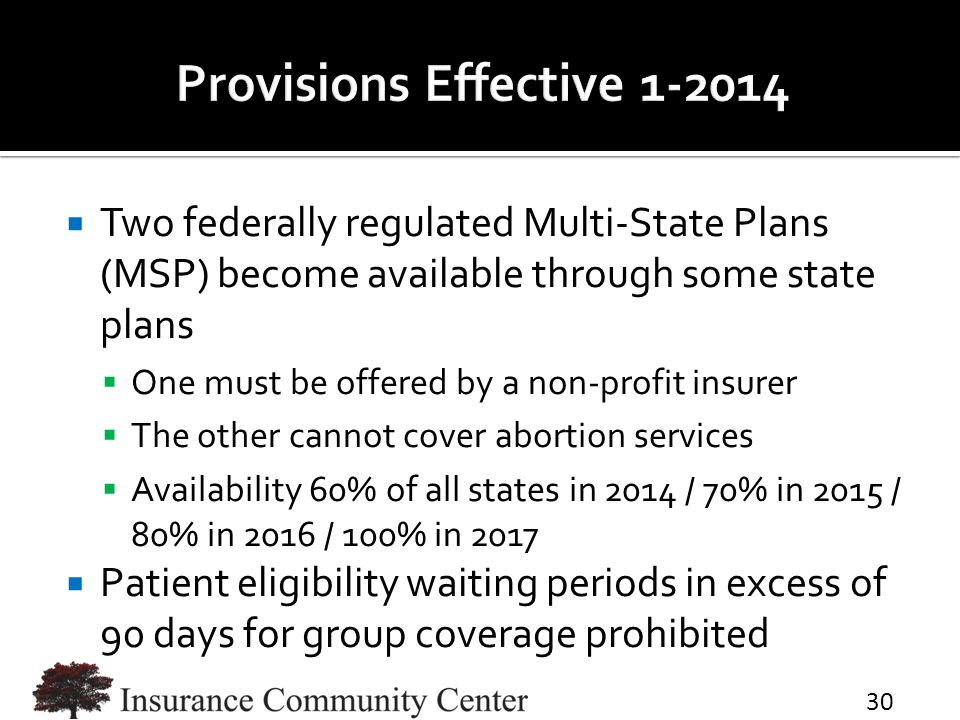  Two federally regulated Multi-State Plans (MSP) become available through some state plans  One must be offered by a non-profit insurer  The other cannot cover abortion services  Availability 60% of all states in 2014 / 70% in 2015 / 80% in 2016 / 100% in 2017  Patient eligibility waiting periods in excess of 90 days for group coverage prohibited 30