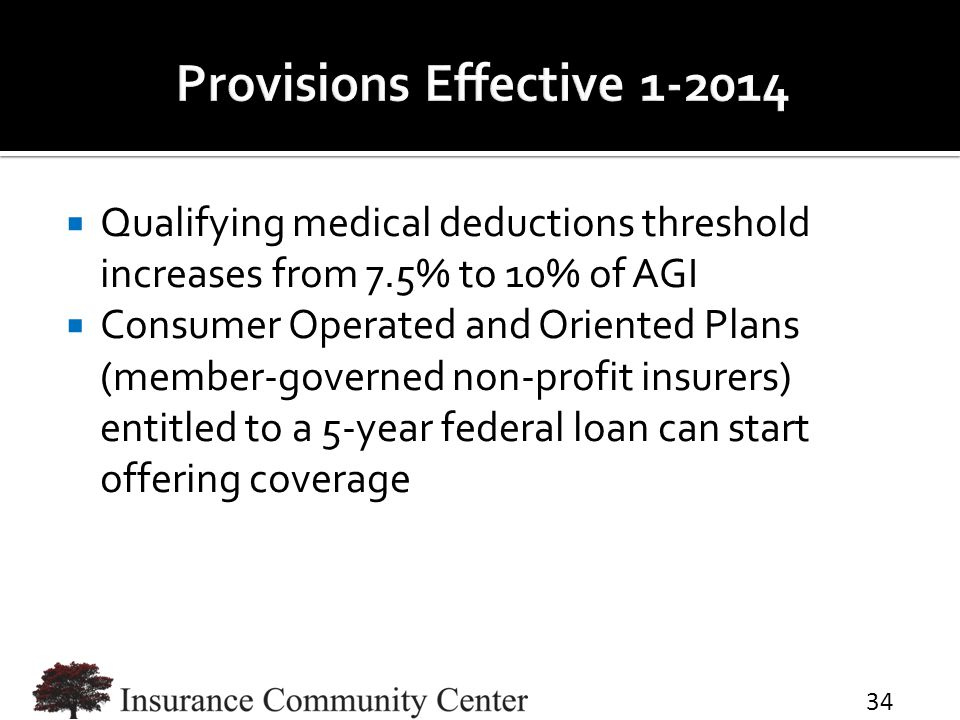  Qualifying medical deductions threshold increases from 7.5% to 10% of AGI  Consumer Operated and Oriented Plans (member-governed non-profit insurer