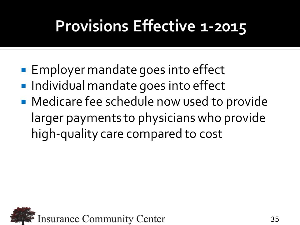  Employer mandate goes into effect  Individual mandate goes into effect  Medicare fee schedule now used to provide larger payments to physicians who provide high-quality care compared to cost 35