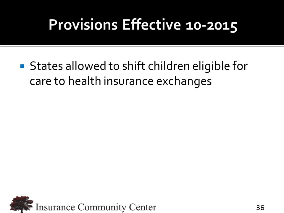  States allowed to shift children eligible for care to health insurance exchanges 36