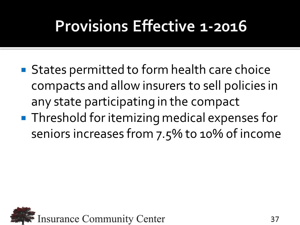  States permitted to form health care choice compacts and allow insurers to sell policies in any state participating in the compact  Threshold for i
