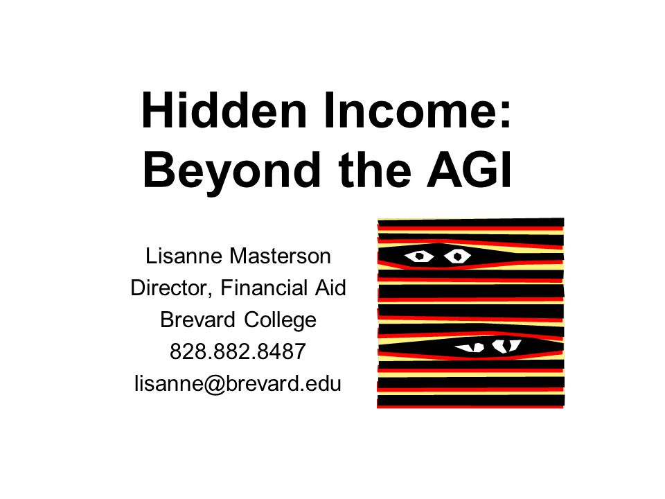 Hidden Income: Beyond the AGI Lisanne Masterson Director, Financial Aid Brevard College 828.882.8487 lisanne@brevard.edu