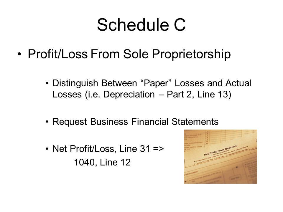 "Schedule C Profit/Loss From Sole Proprietorship Distinguish Between ""Paper"" Losses and Actual Losses (i.e. Depreciation – Part 2, Line 13) Request Bus"