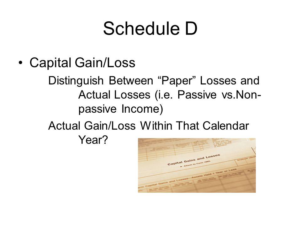 """Schedule D Capital Gain/Loss Distinguish Between """"Paper"""" Losses and Actual Losses (i.e. Passive vs.Non- passive Income) Actual Gain/Loss Within That C"""