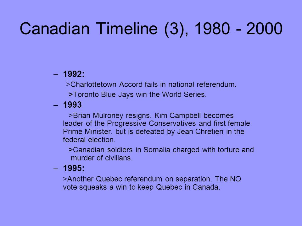 Canadian Timeline (3), 1980 - 2000 –1992: >Charlottetown Accord fails in national referendum. >Toronto Blue Jays win the World Series. –1993 >Brian Mu