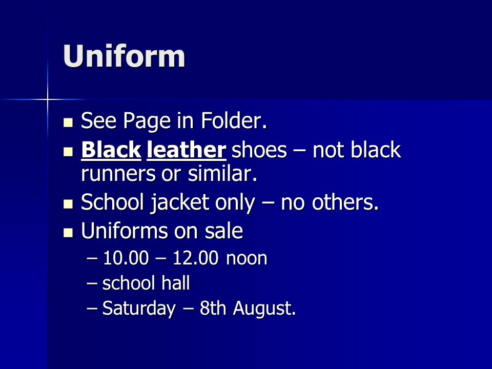 Uniform See Page in Folder. See Page in Folder.