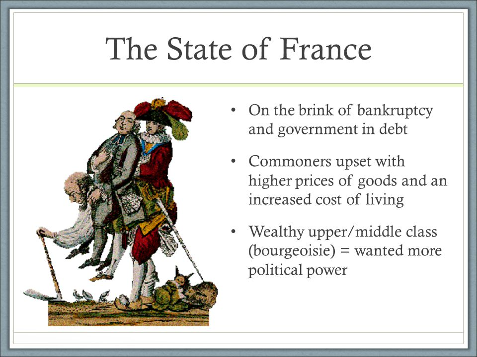 The State of France King Louis XVI wanted to reform the tax system to make it more equal and efficient At the time = clergy, nobility, and government officials = exempt from paying taxes He called into session the Estates General = an ancient representative body Consisted of representatives from the 3 estates Each estate gets 1 vote Opening of the Estates General at Versailles -- May 5, 1789