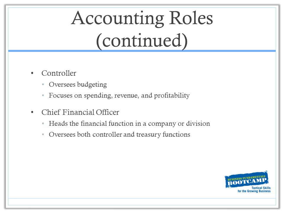 Accounting Roles (continued) Controller Oversees budgeting Focuses on spending, revenue, and profitability Chief Financial Officer Heads the financial