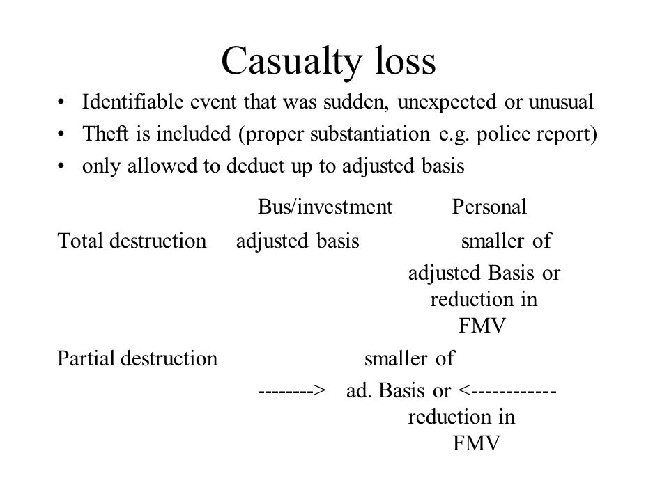 Casualty loss Identifiable event that was sudden, unexpected or unusual Theft is included (proper substantiation e.g. police report) only allowed to d