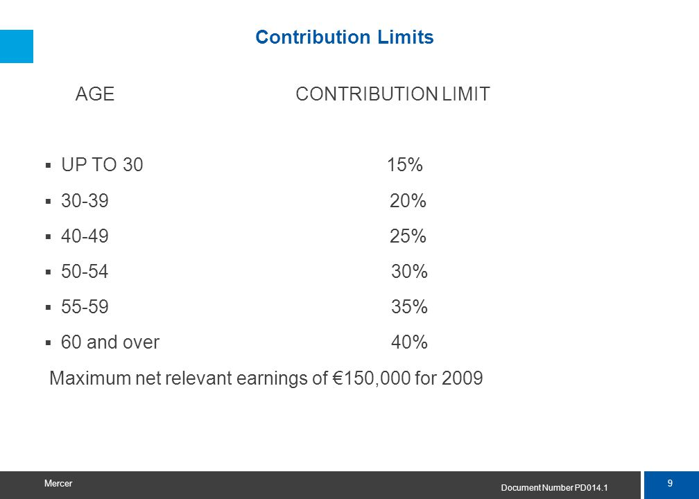 9 Mercer Contribution Limits AGE CONTRIBUTION LIMIT  UP TO 3015%  30-39 20%  40-49 25%  50-54 30%  55-59 35%  60 and over 40% Maximum net releva
