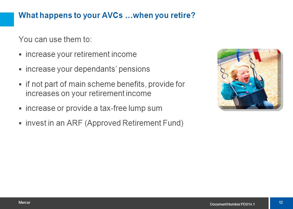 12 Mercer What happens to your AVCs …when you retire.