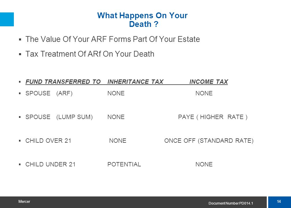14 Mercer What Happens On Your Death ?  The Value Of Your ARF Forms Part Of Your Estate  Tax Treatment Of ARf On Your Death  FUND TRANSFERRED TO IN