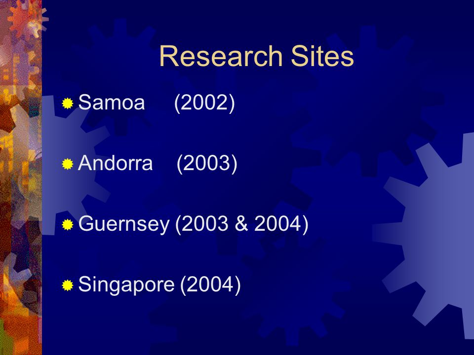 Research Sites  Samoa (2002)  Andorra (2003)  Guernsey (2003 & 2004)  Singapore (2004)