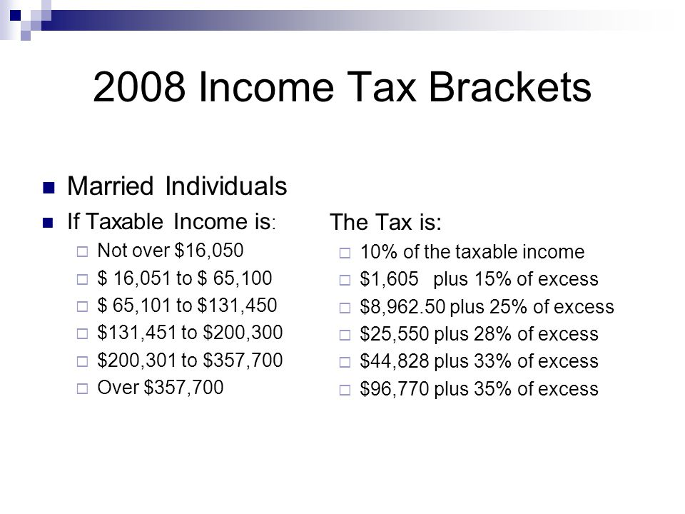 2008 Income Tax Brackets Married Individuals If Taxable Income is :  Not over $16,050  $ 16,051 to $ 65,100  $ 65,101 to $131,450  $131,451 to $200,300  $200,301 to $357,700  Over $357,700 The Tax is:  10% of the taxable income  $1,605 plus 15% of excess  $8,962.50 plus 25% of excess  $25,550 plus 28% of excess  $44,828 plus 33% of excess  $96,770 plus 35% of excess