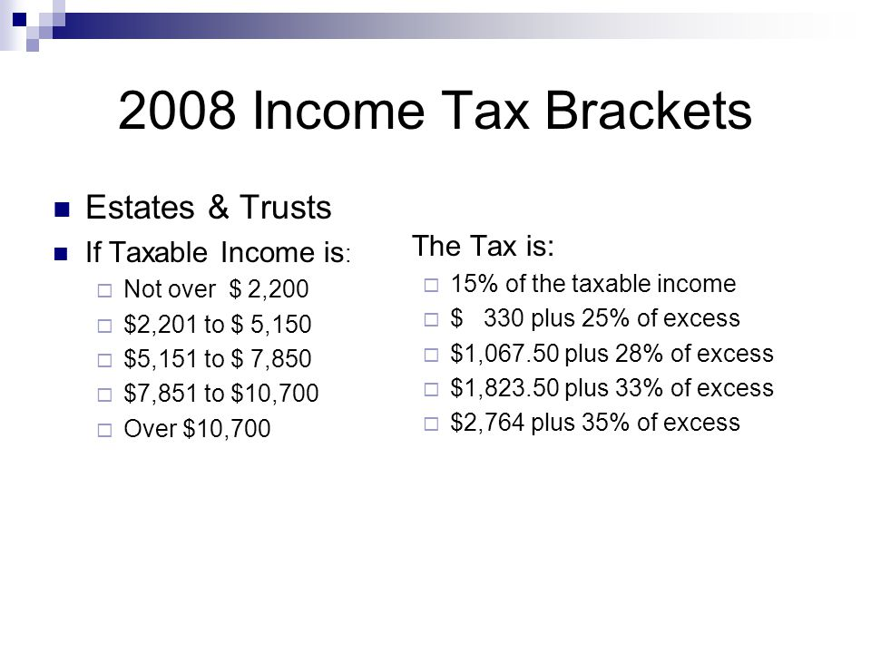 2008 Income Tax Brackets Estates & Trusts If Taxable Income is :  Not over $ 2,200  $2,201 to $ 5,150  $5,151 to $ 7,850  $7,851 to $10,700  Over $10,700 The Tax is:  15% of the taxable income  $ 330 plus 25% of excess  $1,067.50 plus 28% of excess  $1,823.50 plus 33% of excess  $2,764 plus 35% of excess
