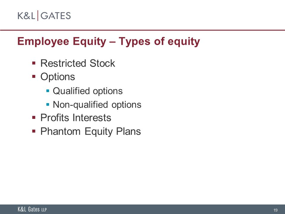 19 Employee Equity – Types of equity  Restricted Stock  Options  Qualified options  Non-qualified options  Profits Interests  Phantom Equity Pla