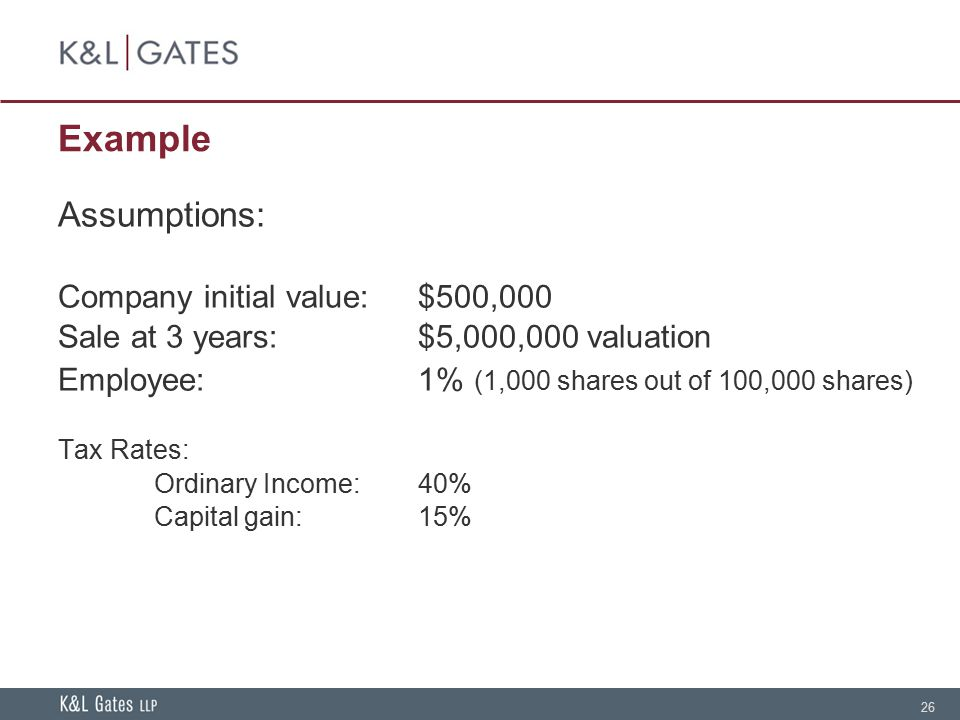 26 Example Assumptions: Company initial value:$500,000 Sale at 3 years:$5,000,000 valuation Employee:1% (1,000 shares out of 100,000 shares) Tax Rates