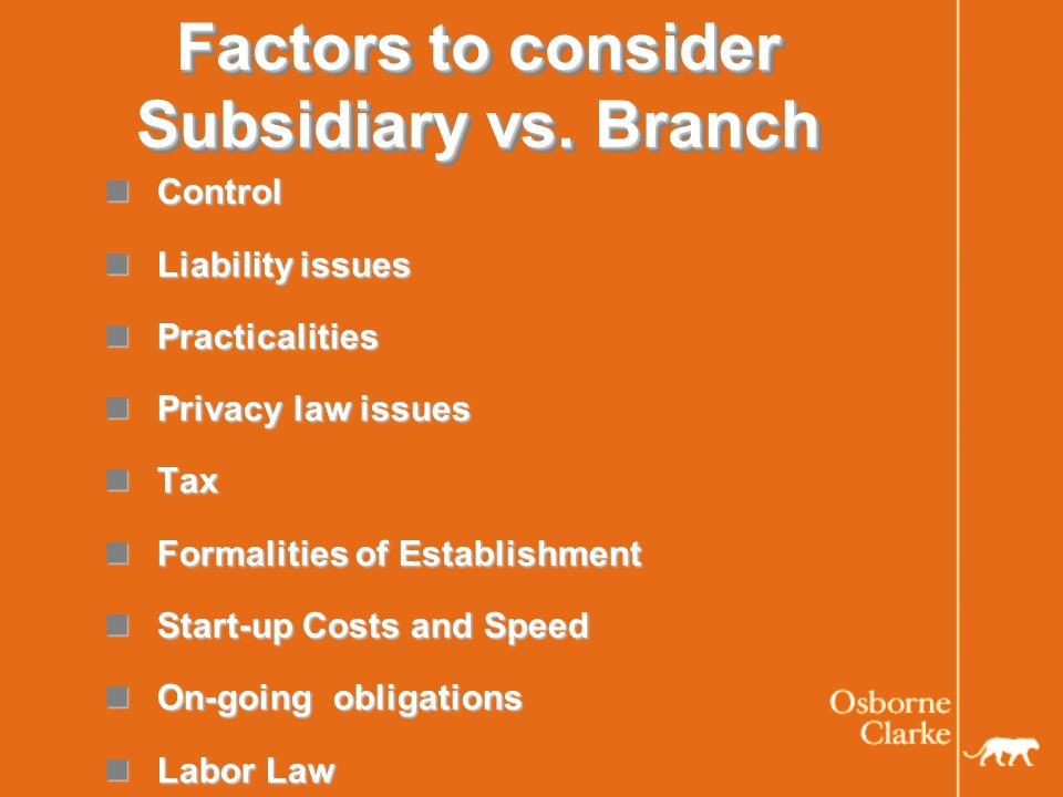 Factors to consider Subsidiary vs.