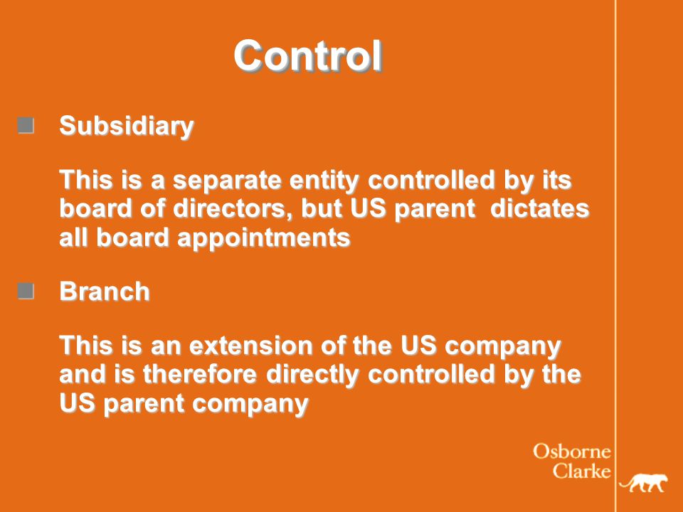 ControlControl Subsidiary Subsidiary This is a separate entity controlled by its board of directors, but US parent dictates all board appointments Branch Branch This is an extension of the US company and is therefore directly controlled by the US parent company