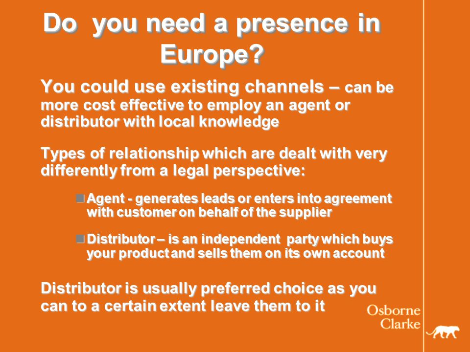 Factors to consider Subsidiary vs.