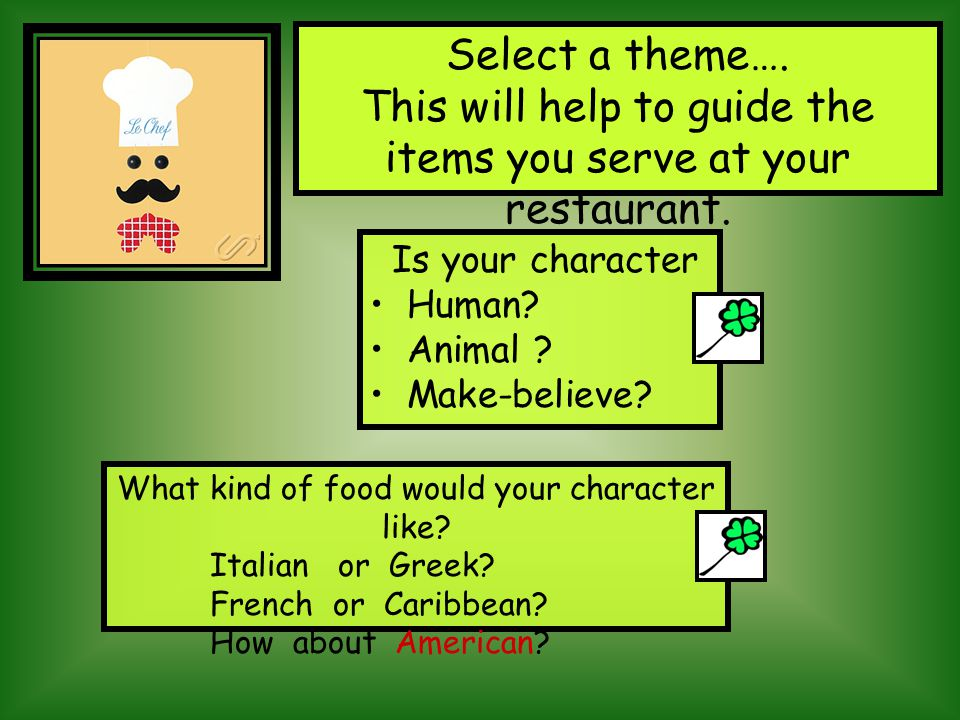 What will you serve? Remember it needs to be something your book character would like to eat.